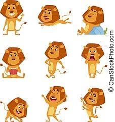 vettore, rilassante, standing, vario, caratteri, camminare, pose, mascotte, grande, leoni, leone, saltare, carino, africano, selvatico, cartoon.