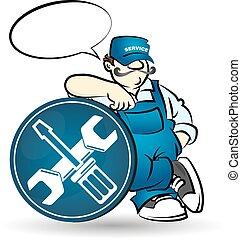 vettore, riparatore, illustrazione