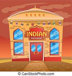 vettore, ristorante, facciata, immagine, indiano, dettagliato