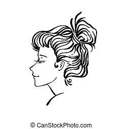 vettore, ritratto, donna, vignette