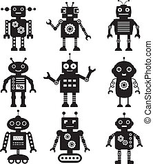 vettore, robot, silhouette, set