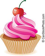 vettore, rosa, cupcake, con, ciliegia