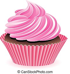 vettore, rosa, cupcake