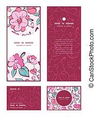 vettore, rosa, kimono blu, fiori, verticale, cornice,...