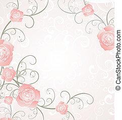 vettore, rose, cornice, rosa, romanza, amore, illustrazione