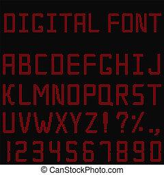vettore, rosso, digitale, font