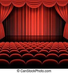 vettore, rosso, palcoscenico, tenda