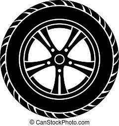 vettore, rotella automobile, nero, bianco, simbolo