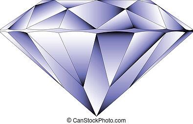 vettore, rotondo, brillante, taglio, diamante, prospettiva