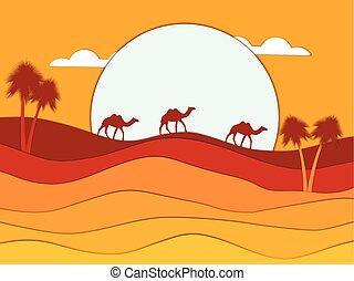 vettore, roulotte, deserto, illustrazione, egypt., carta, sun., fondo, cammelli, style., paesaggio