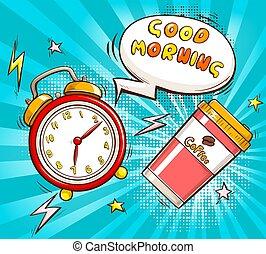 vettore, sagoma, bandiera, cartone animato, mattina, buono