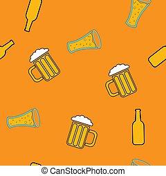 vettore, sbarra, alcolico, semplice, modello, astratto, icone, bottiglie, giallo, seamless, fondo., birra, mestiere, illustrazione, delizioso, vetro, schiumoso, occhiali
