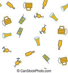 vettore, sbarra, alcolico, semplice, modello, astratto, icone, bottiglie, illustrazione, seamless, cocktail, fondo., birra, mestiere, delizioso, bianco, vetro, calici, schiumoso, occhiali