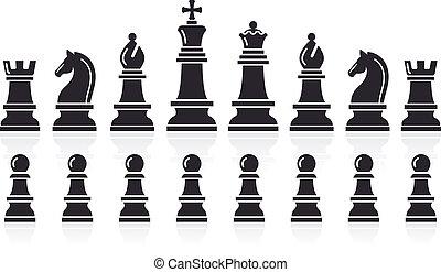 vettore, scacchi, icons., illustration.