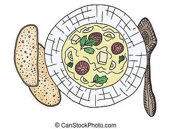 vettore, scarabocchiare, polpetta, soup., schizzo, ciotola, carne