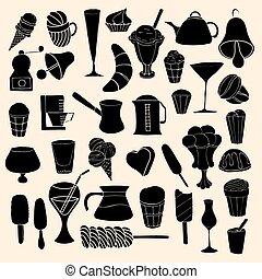 vettore, scarabocchiare, set, dolci, hand-drawn
