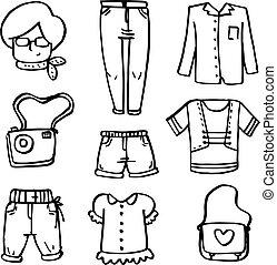 vettore, scarabocchiare, vestiti, set, donne
