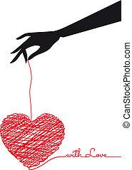 vettore, scarabocchio, cuore, mano