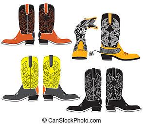 vettore, scarpe, per, cowboy, su, white., speciale, vestiti