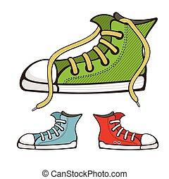 vettore, scarpe tennis