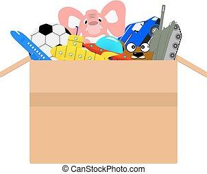 vettore, scatola cartone, pieno, di, differente, bambini, giocattoli