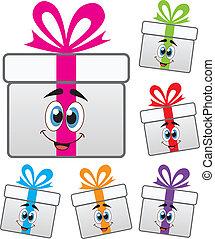 vettore, scatola regalo, simboli