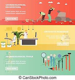 vettore, scavo, concetto, manufatti, ricerca, set, ...