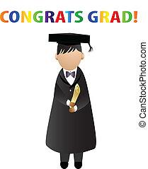 vettore, scheda, grad!, logotipo, congrats