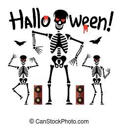 vettore, scheletri, illustration., ballo, cartone animato