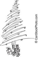 vettore, schizzo, albero., natale, illustrazione
