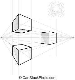 vettore, schizzo, cubo, prospettiva