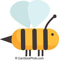 vettore, schizzo, fondo, bianco, colore ape, semplice