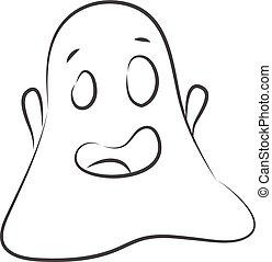 vettore, schizzo, fondo, fantasma bianco, semplice, illustrazione