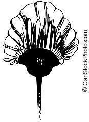 vettore, schizzo, germoglio fiore, gambo