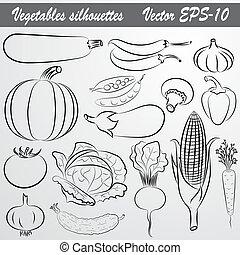 vettore, schizzo, set, verdura, disegno