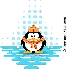 vettore, sciarpa, cappello, ghiaccio, poco, riflessione, pinguino, il portare, carino, illustrazione