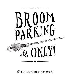 vettore, scopa, segno, parcheggio, illustrazione