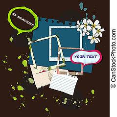 vettore,  scrapbooking, illustrazione, elementi