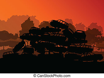 vettore, scrapyard, concetto, vecchio, cimitero, automobile...