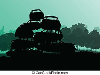 vettore, scrapyard, concetto, vecchio, cimitero, automobile,...