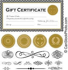 vettore, scuro, certificato, cornice, set, e, ornamenti