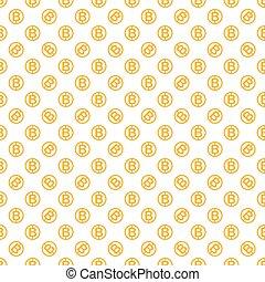 vettore, seamless, modello, con, bitcoins., cryptocurrency,...
