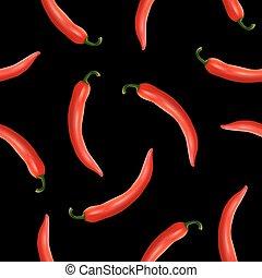 vettore, seamless, modello, con, realistico, rosso caldo, naturale, chili pepa, su, uno, nero, fondo., eps10.