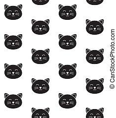 vettore, seamless, modello, nero, faccia, gatto, contorno, appartamento