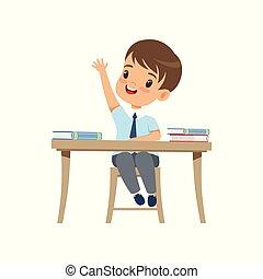 vettore, seduta, salita, studente, suo, carino, sfondo bianco, mano, ragazzo, scuola, elementare, illustrazione, uniforme, scrivania