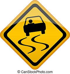vettore, segnale strada sdrucciolevole
