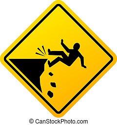 vettore, segno, pericolo, scogliera, cadere
