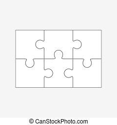 vettore, sei, vuoto, puzzle, pezzi jigsaw, 2x3, parti