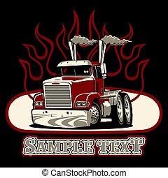 vettore, semi camion, cartone animato