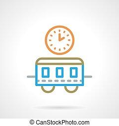 vettore, semplice, colorare, treno, linea tempo, icona
